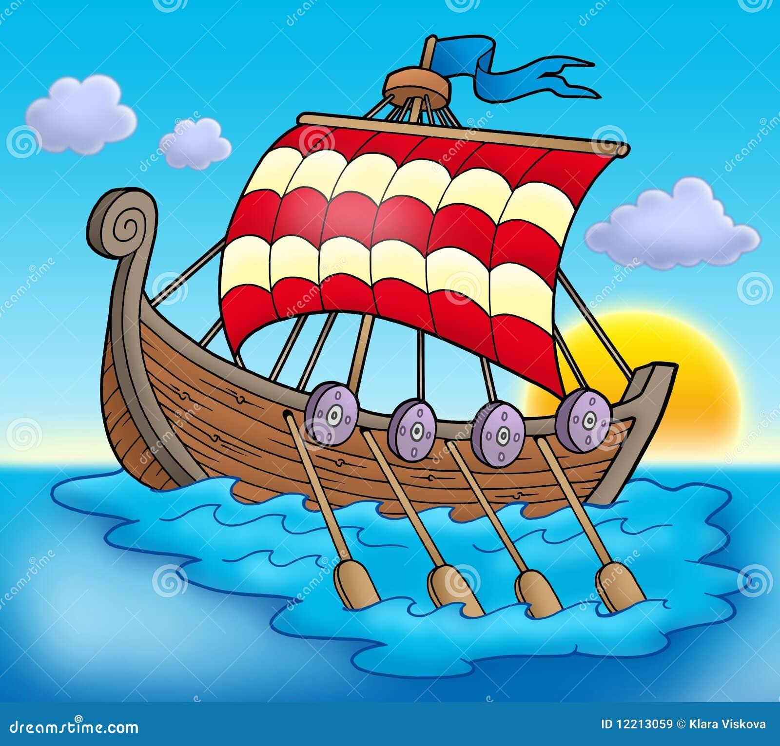 Bateau de Viking sur la mer