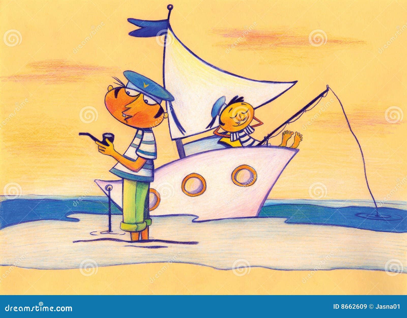 Bateau deux de mer de marins