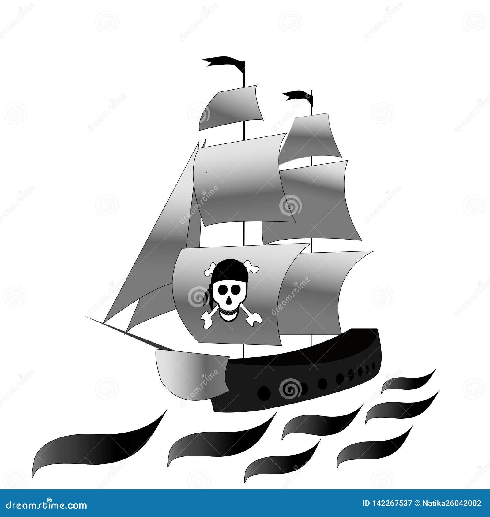 Bateau Fregate Avec Les Voiles Blanches Et Dessin Noir Et Blanc De