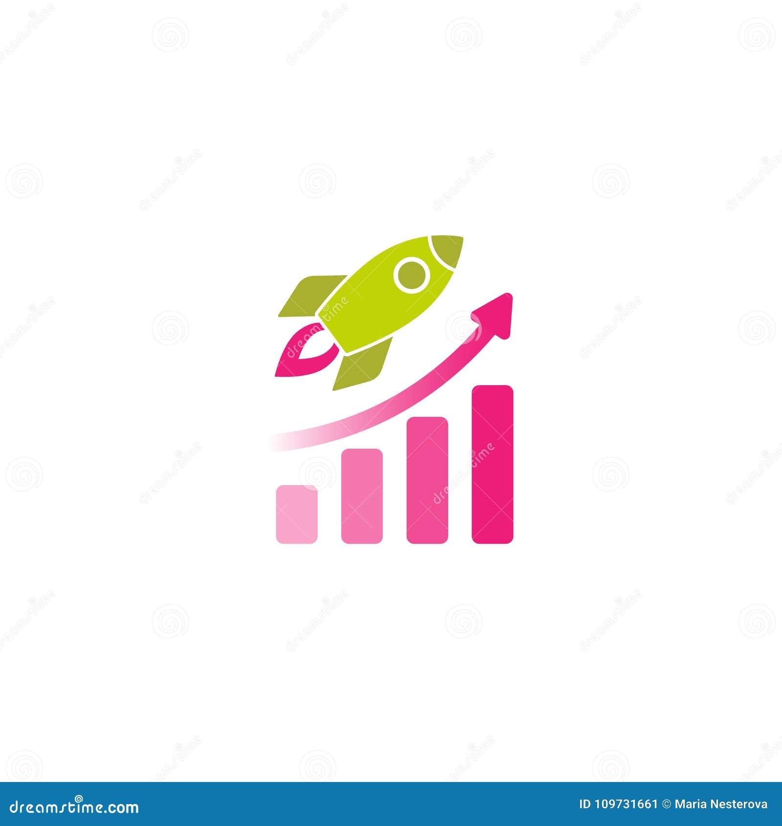 bateau vert de rocket avec le feu rose et le diagramme rose re�u un dipl�me  de