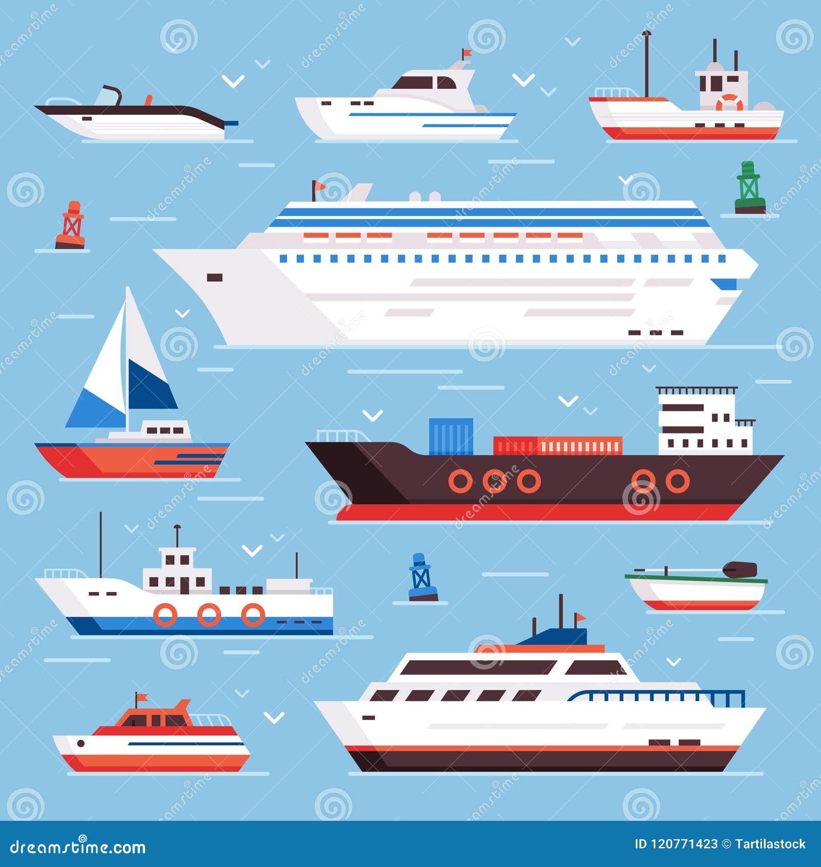 Bateaux de mer Le bateau d expédition de marine de revêtement de croisière de hors-bord de bateau de bande dessinée et les bateau