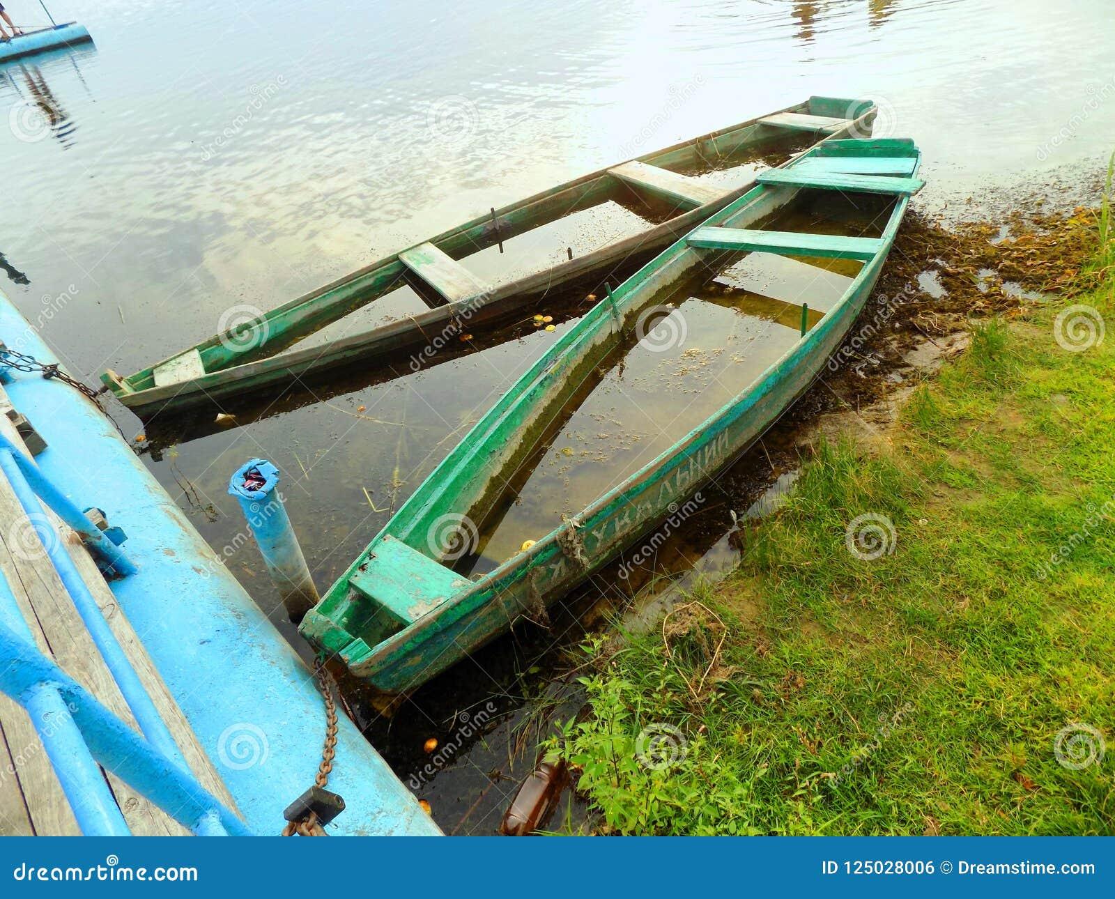 Bateaux, l eau, herbe, verts, lac, été, beauté