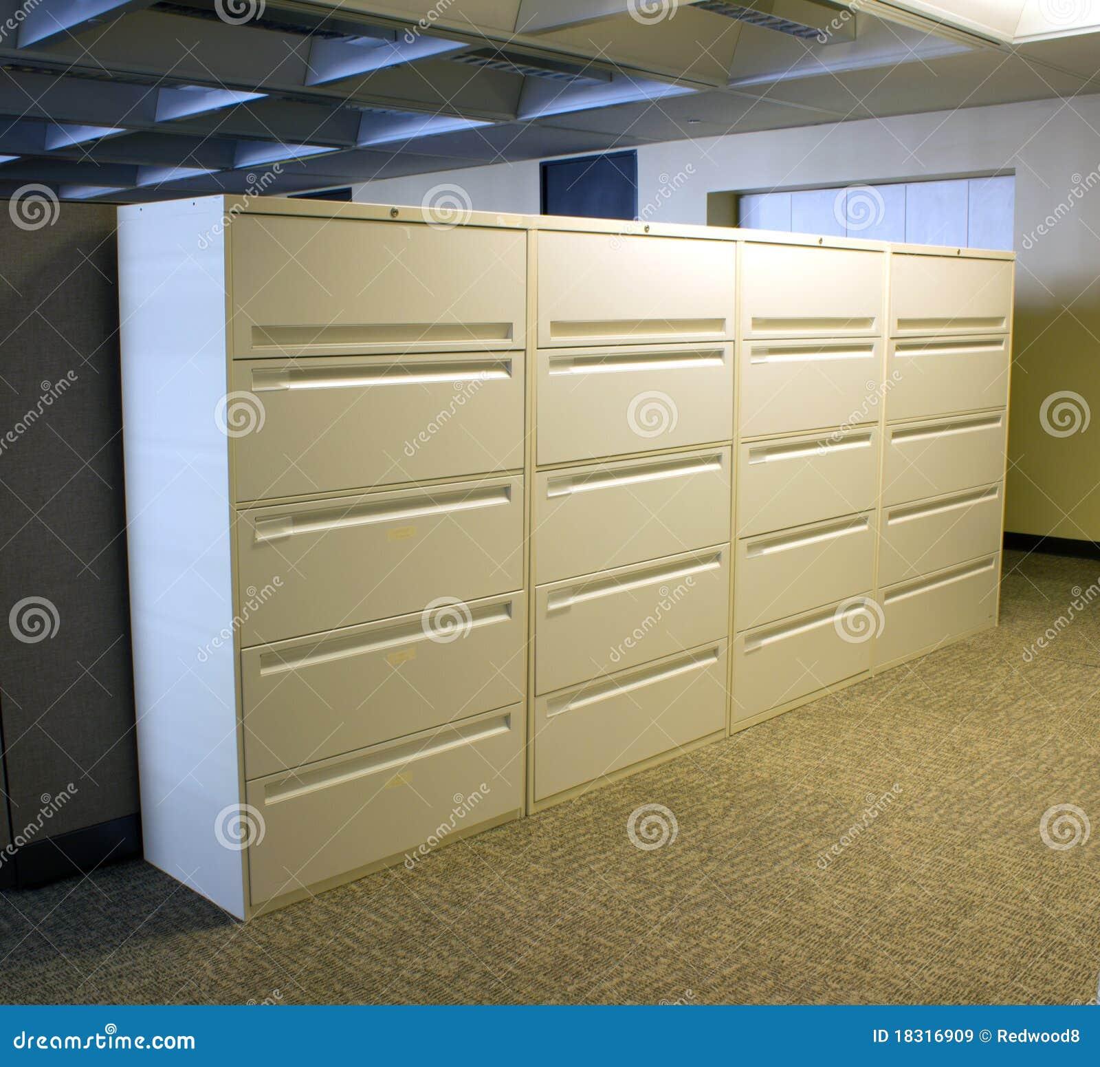 Batería de las cabinas de fichero de la oficina