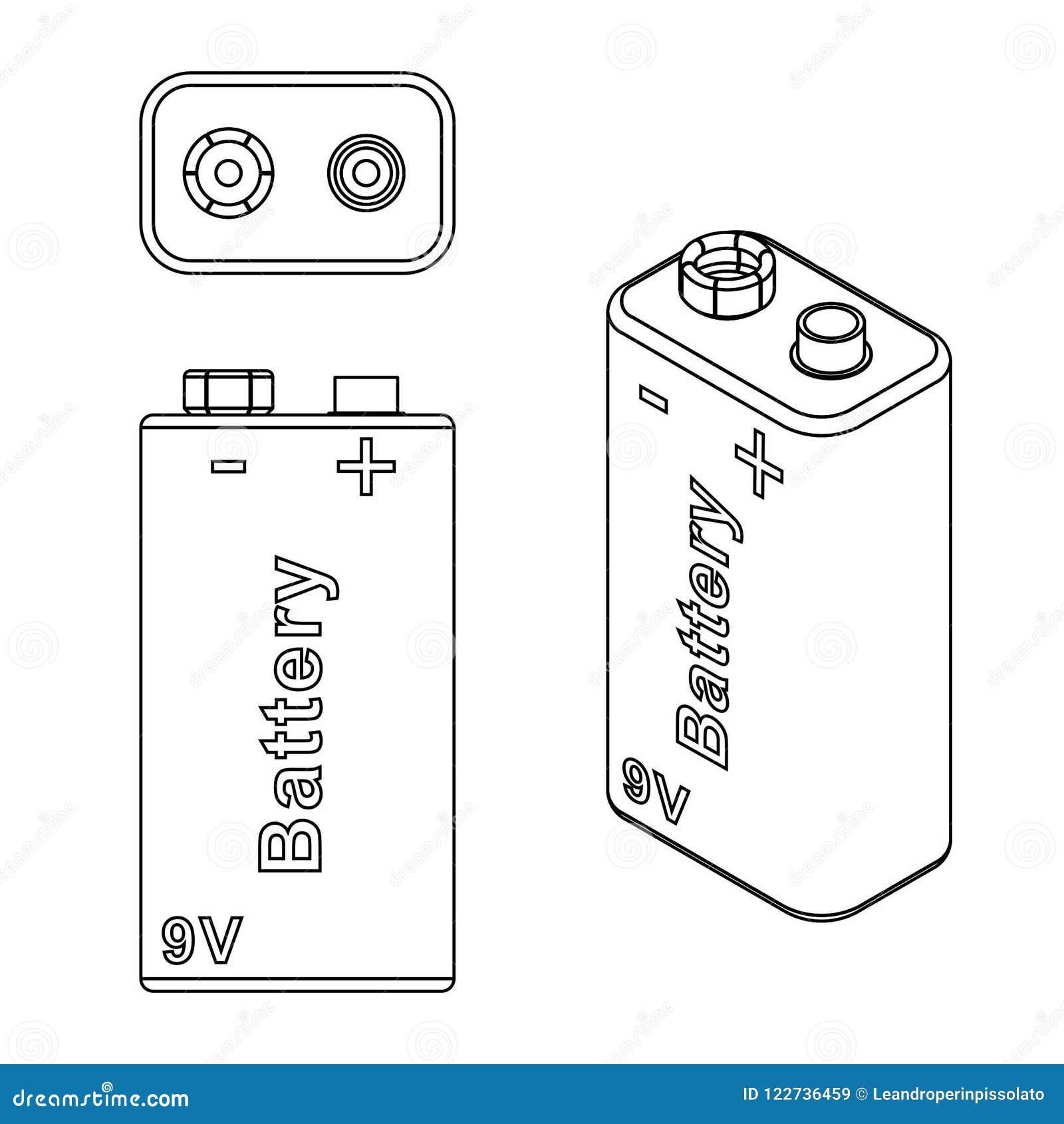 Batería Tradicional 9v Esquema Solamente Ilustración Del