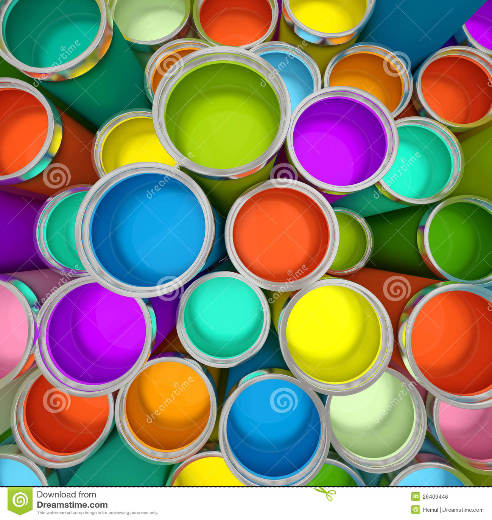 Baterías de la pintura multicolora 3D