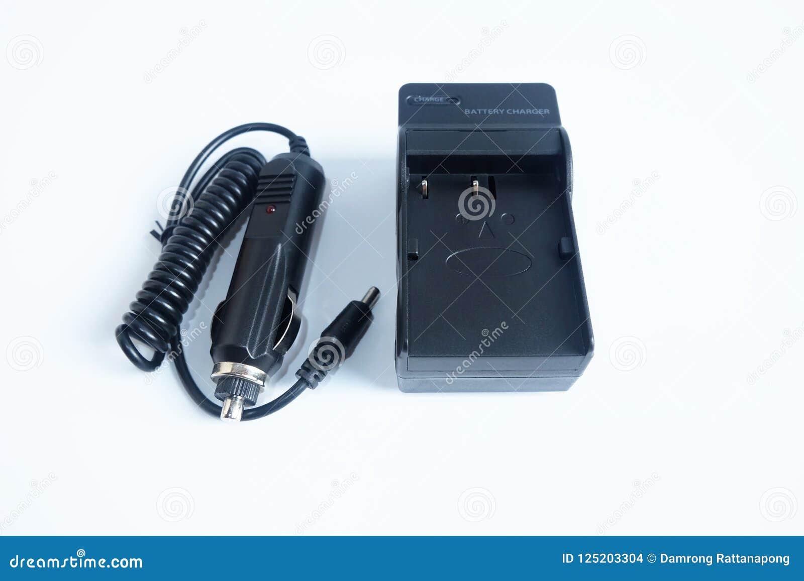 Bateria do carregador do poder do adaptador de câmera com o portable do carregador do carro no branco