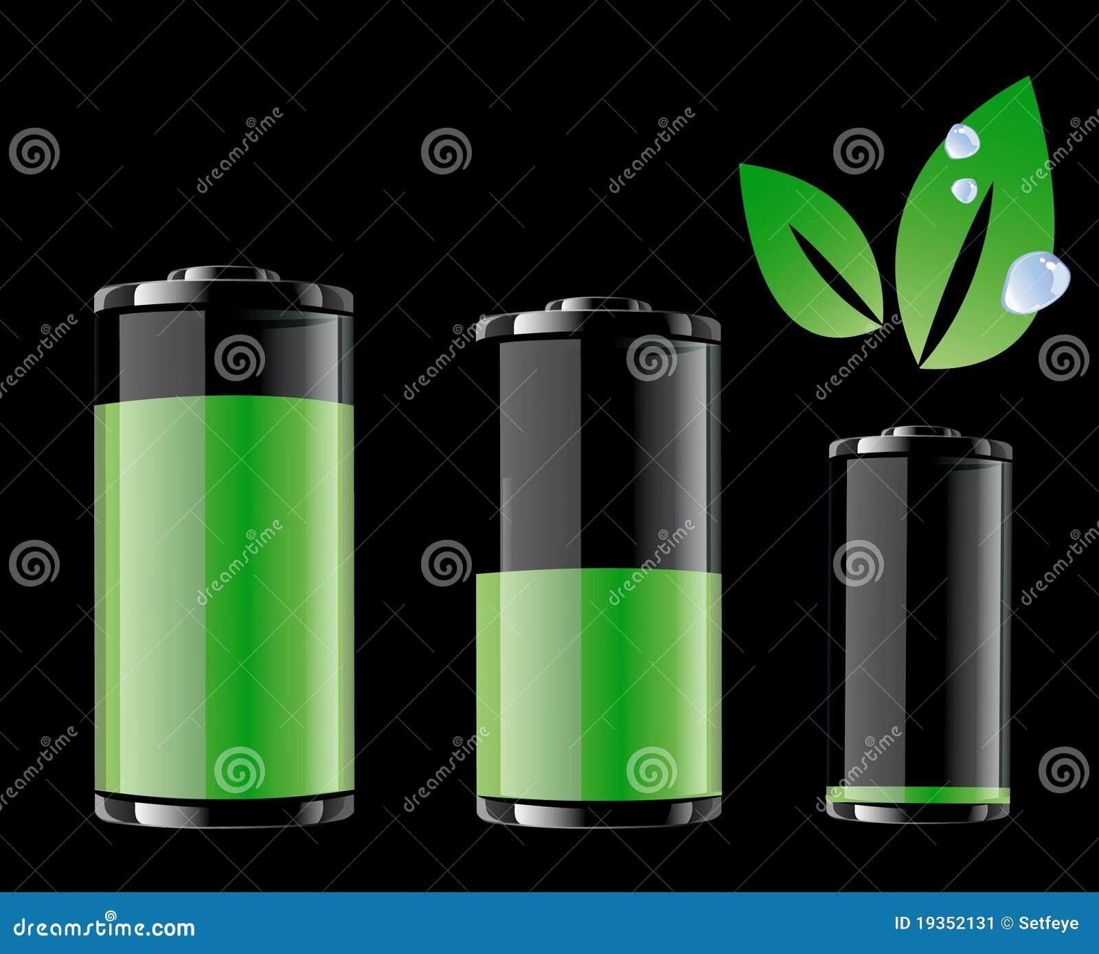 Bateria verde e folha verde com gotas da água