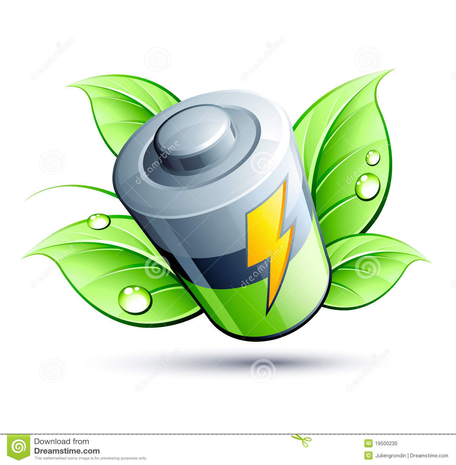 Bateryjny elektryczny zielony liść