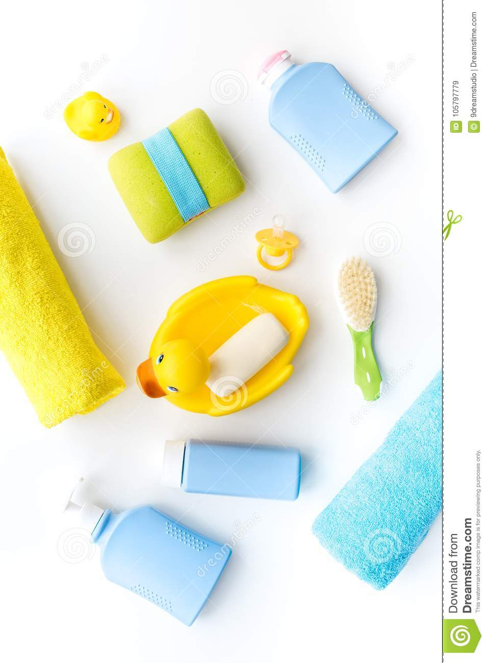 Bath Accessories For Kids. Yellow Rubber Duck, Soap, Sponge, Brushes ...