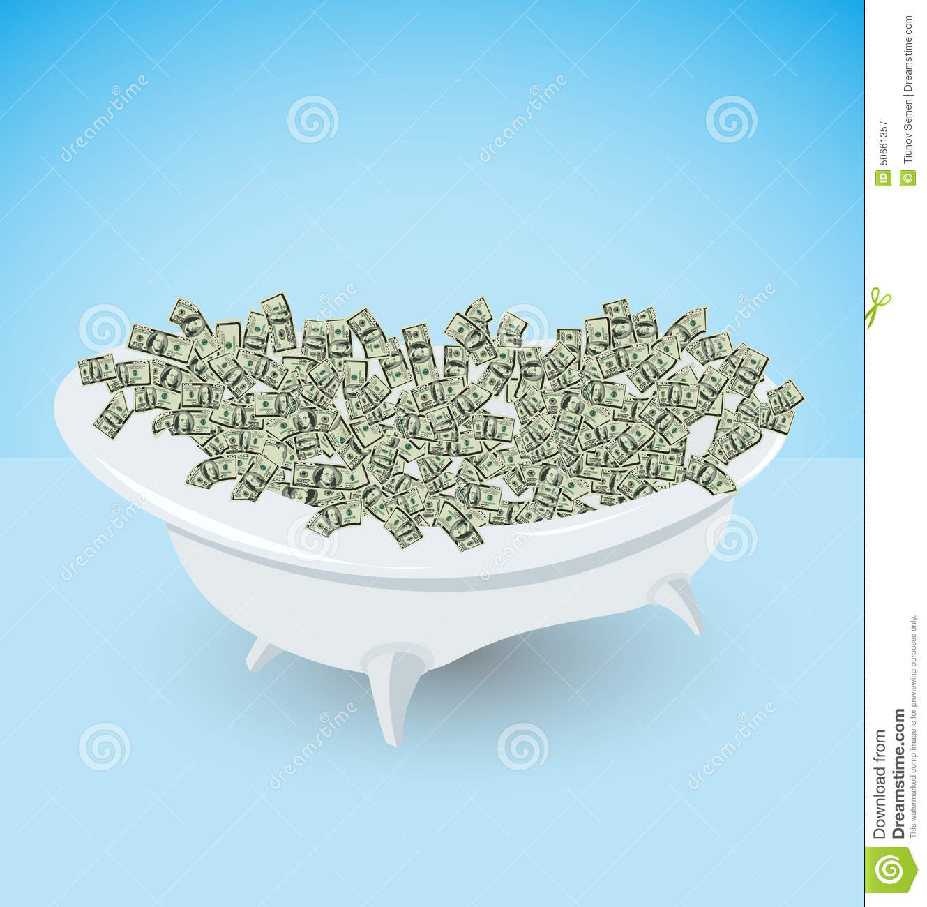 Bath With Money Dollars Wealth And Success Stock Vector