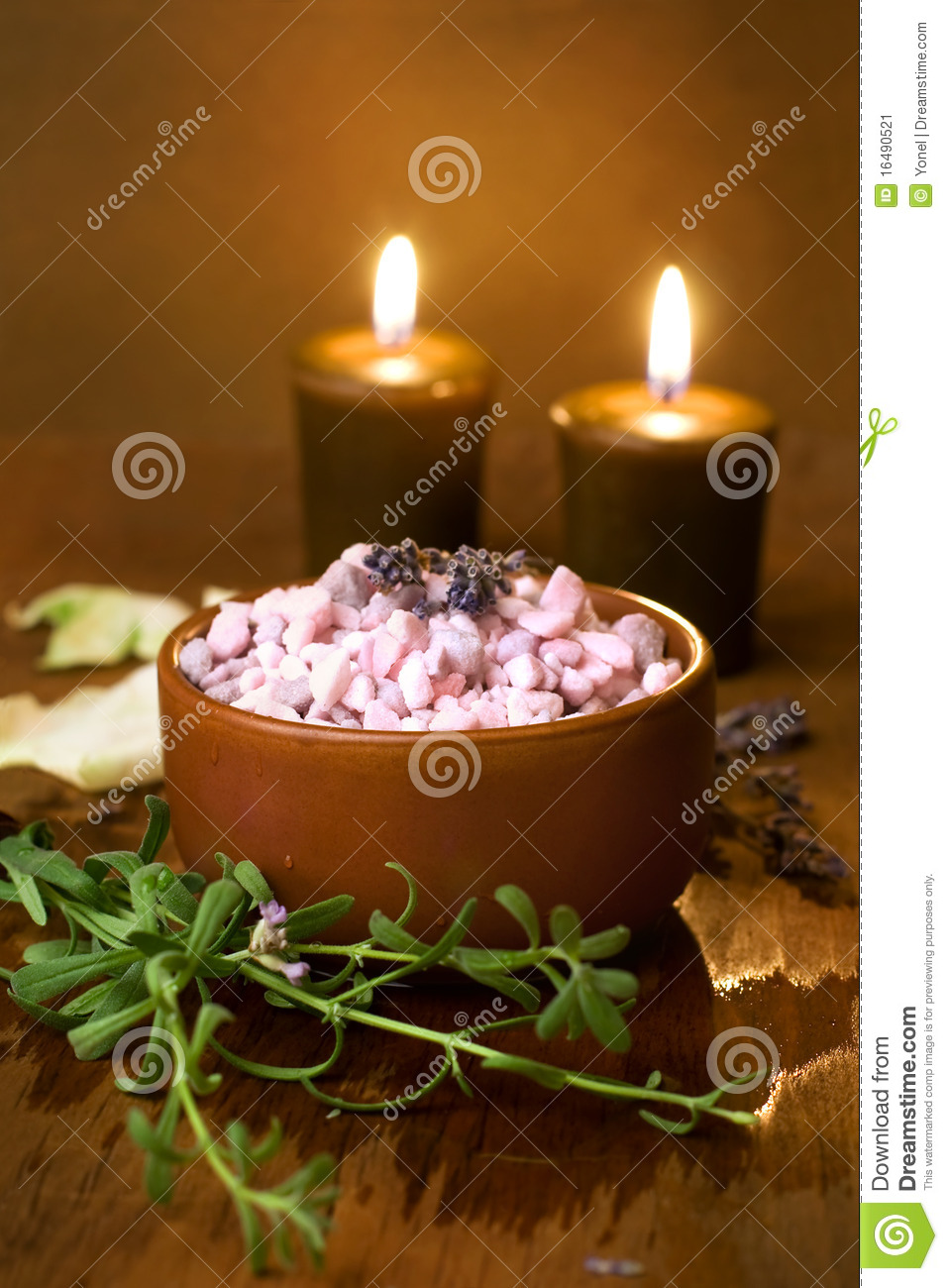 Bath salt with candles.