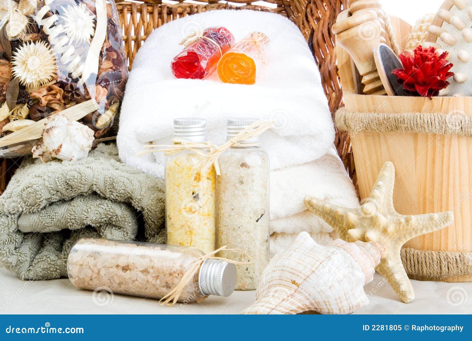 Bath salts, soap and towels