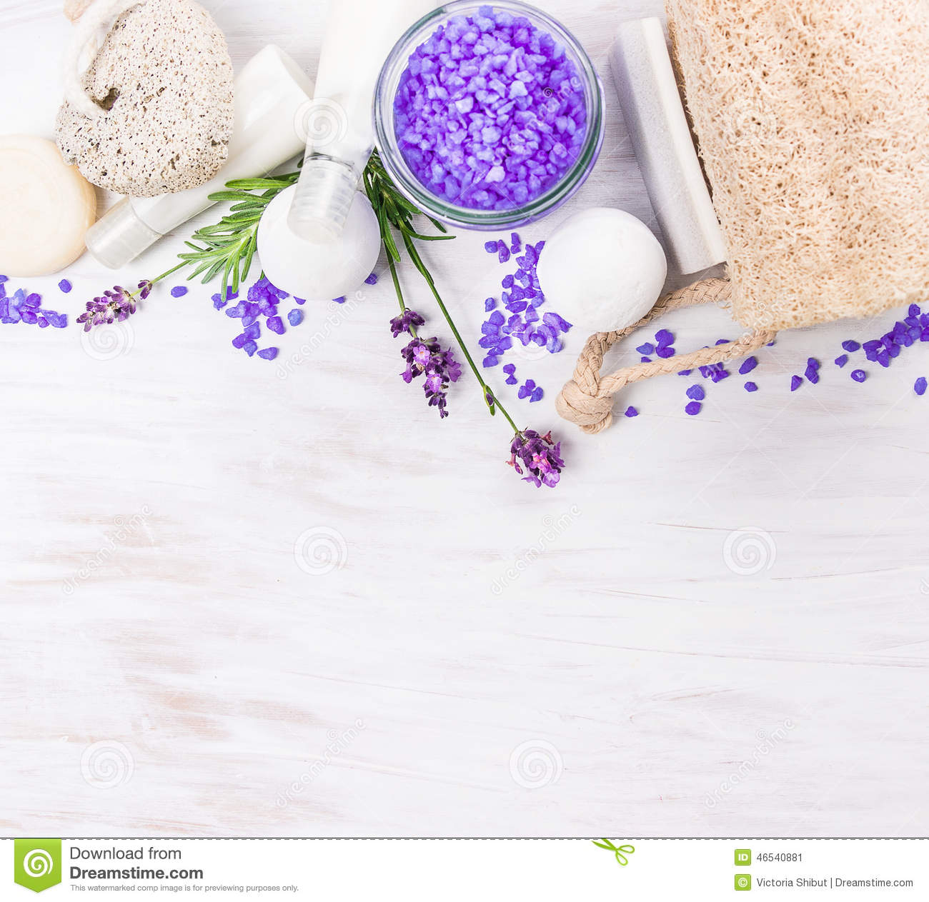 Bath set with lavender on white wooden table, spa background