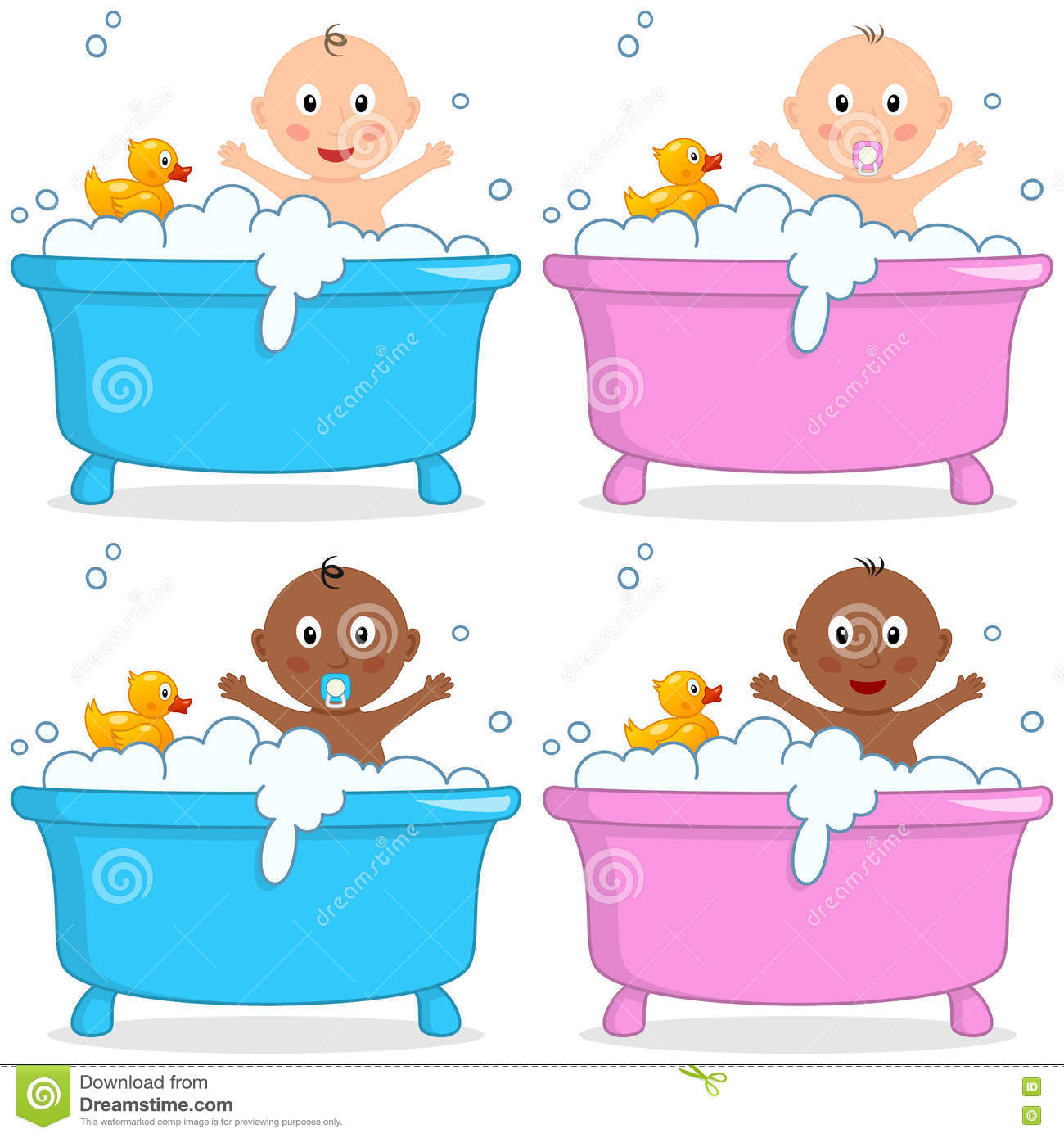 bath time with boy girl rubber duck stock vector illustration of happiness isolated 72945434. Black Bedroom Furniture Sets. Home Design Ideas