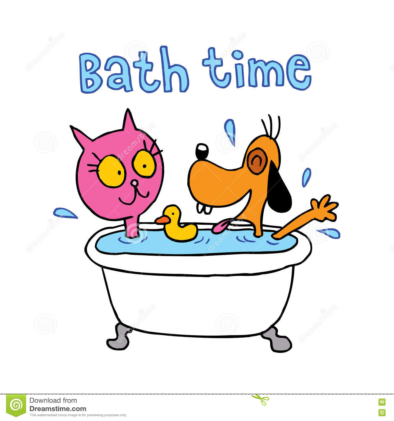 Bath time - cute cat and dog characters