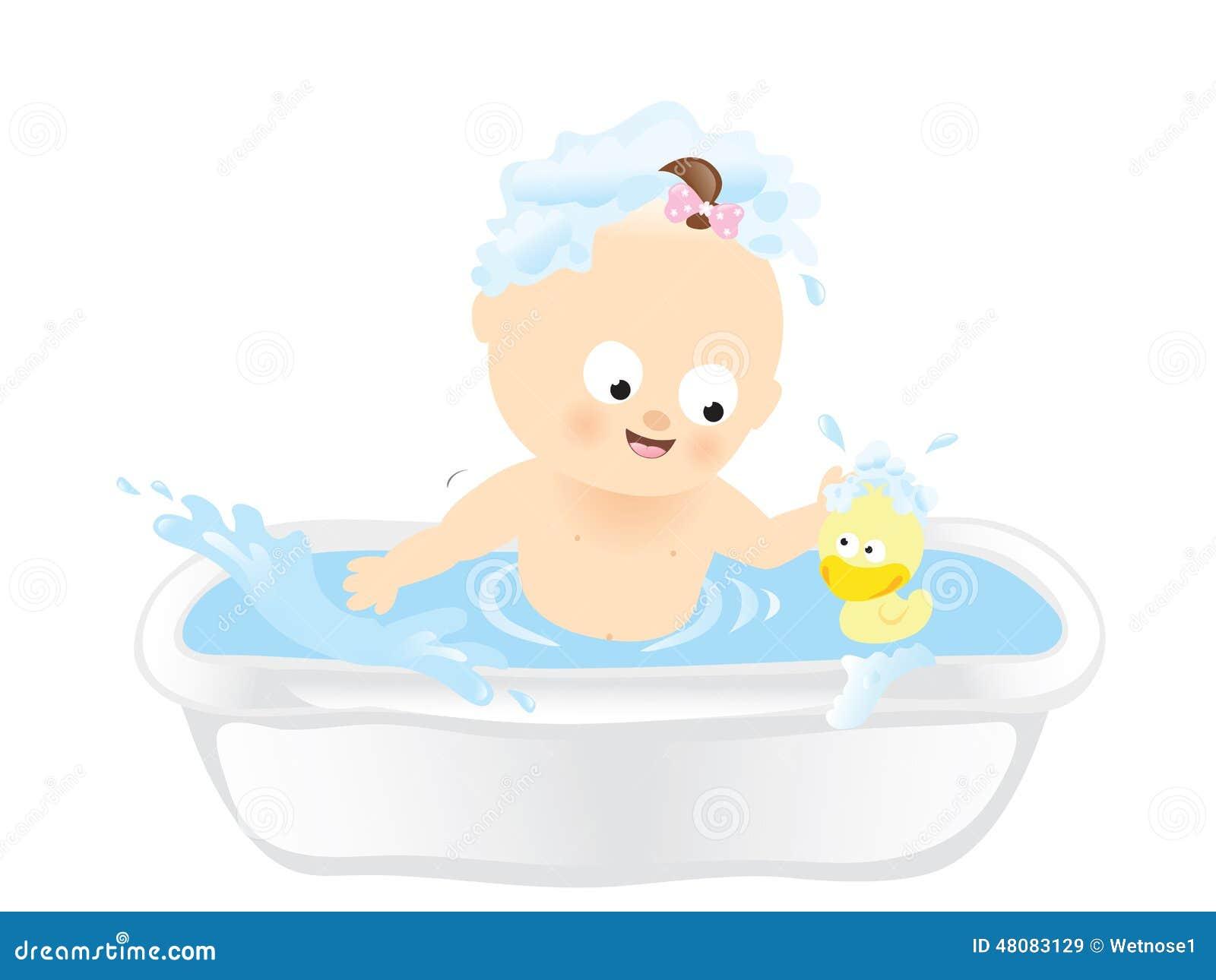 bath time stock vector illustration of girl rubber 48083129. Black Bedroom Furniture Sets. Home Design Ideas