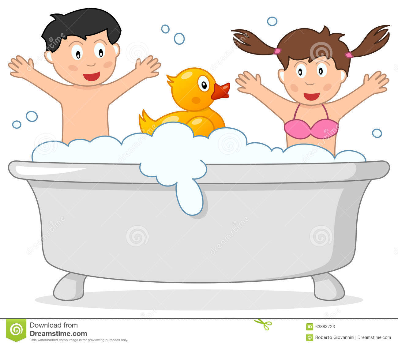 Bath Time With Two Kids & Rubber Duck Stock Vector ...