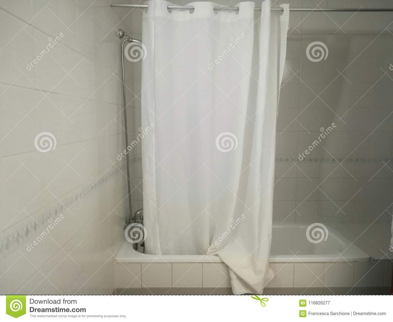 The Bathtub And Shower Curtain Stock Image Image Of Mixer