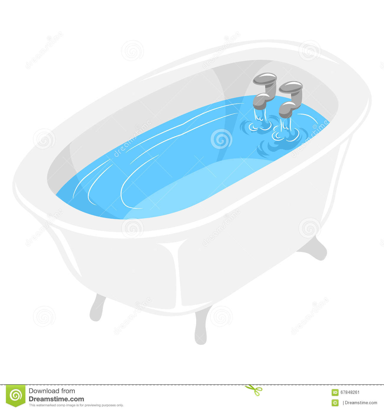 bath tub filled with water stock vector illustration of clip 67848261. Black Bedroom Furniture Sets. Home Design Ideas