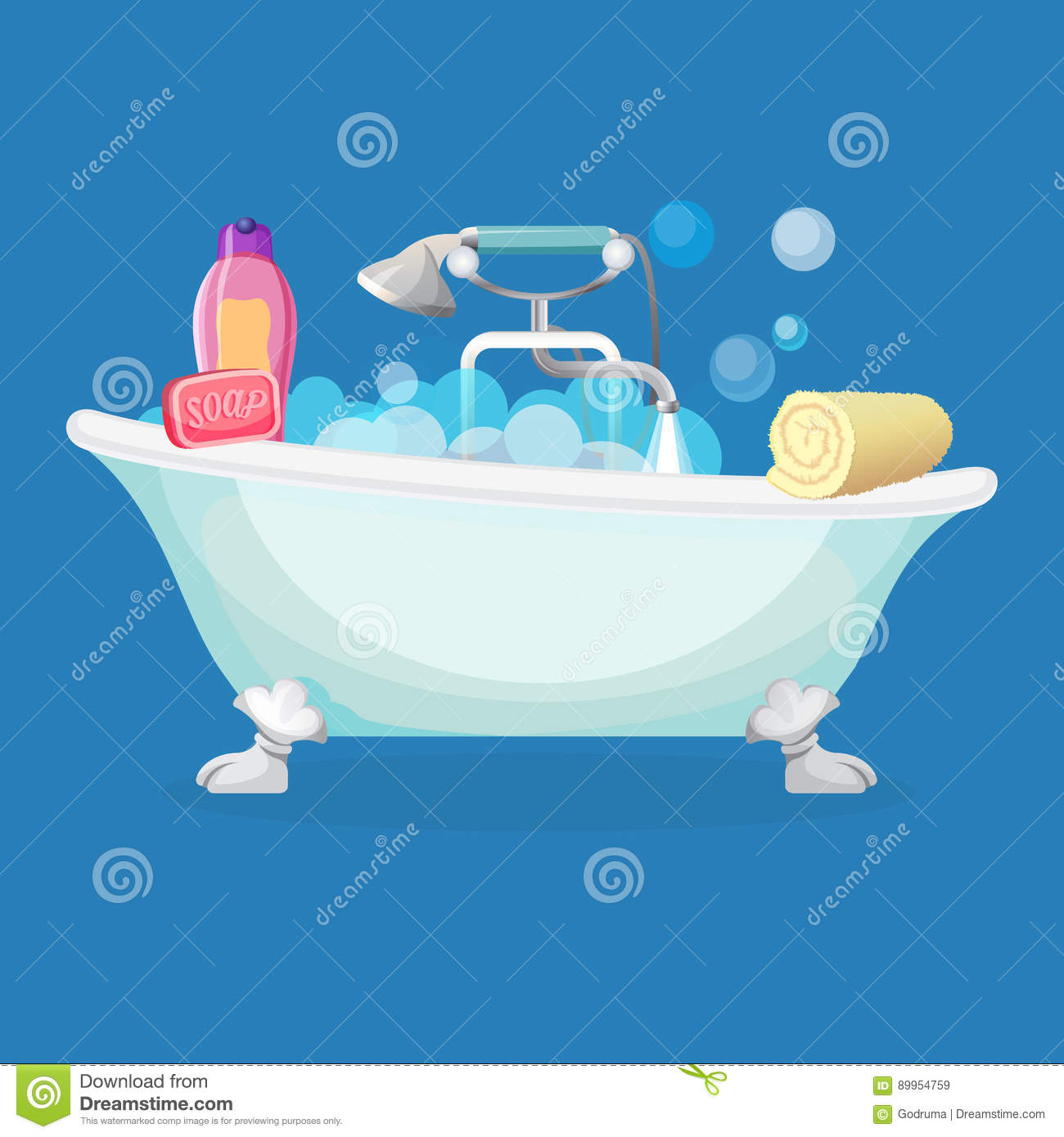 Bath Tub Isolated Full Of Foam With Bubbles Stock Vector ...