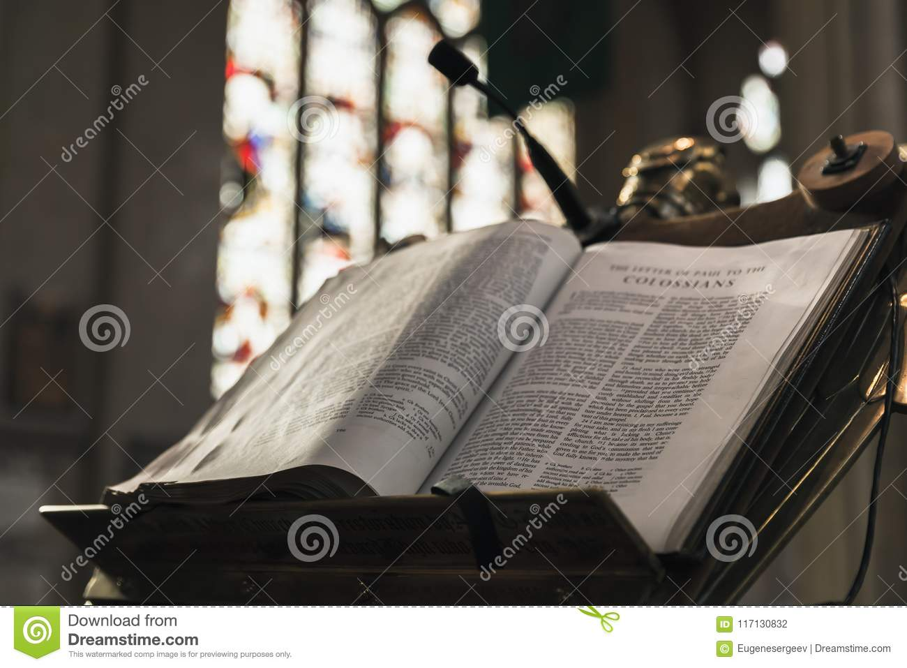 Open Bible Lays In Abbey Church Editorial Photography - Image of