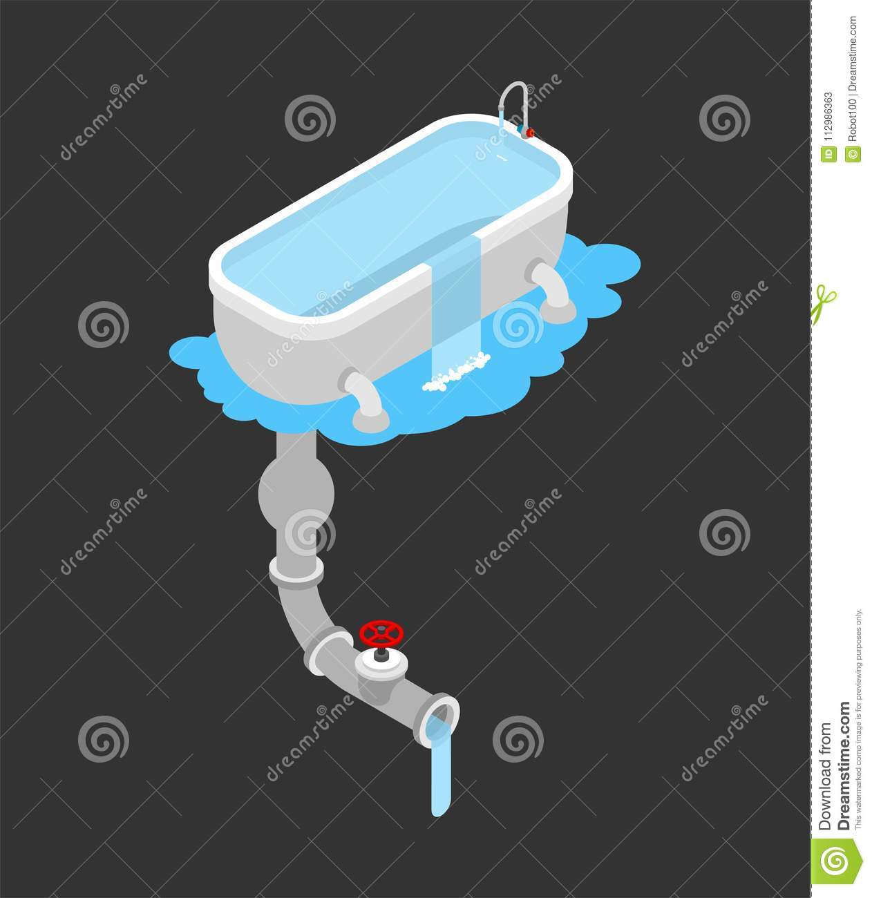 Bath was clogged. Leakage canalization. Clogged in bathroom. Iso