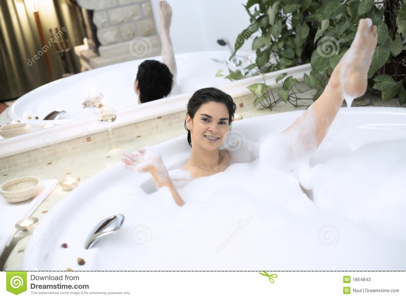 Bath In A Whirlpool Hot Tub Jacuzzi. Stock Image - Image of smile ...