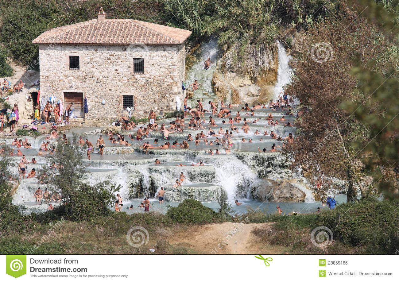 Bathers In The Terme Di Saturnia Tuscany Italy Editorial