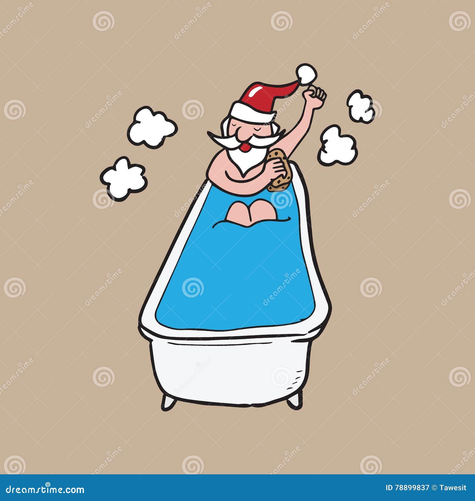 Bathing In Bath Tub Santa Cartoon Drawing Stock Vector ...