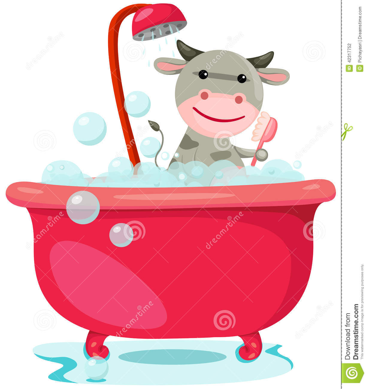 Bathing Cute Cow Stock Vector Image 42317752