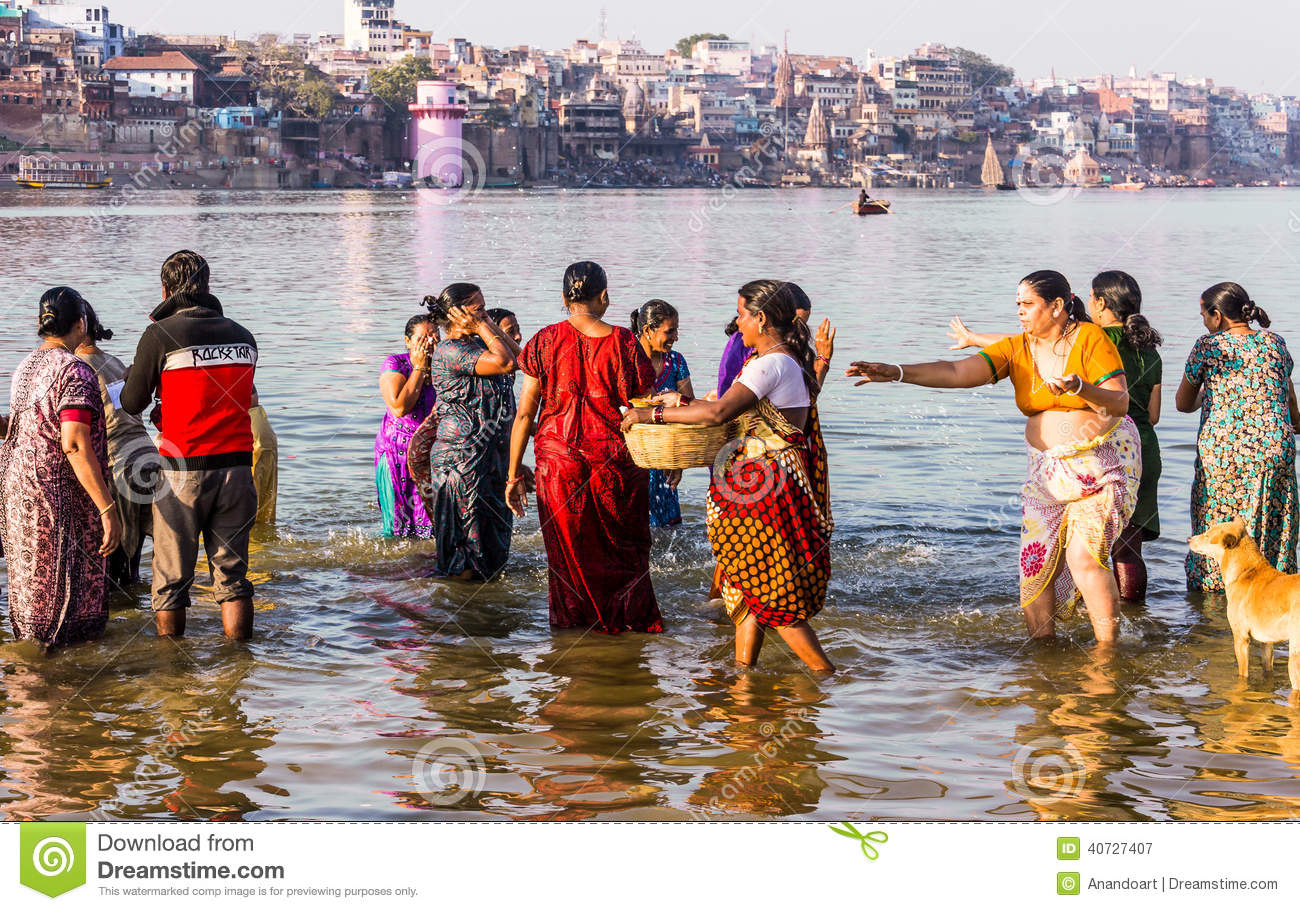 Indian Ladies Bathing In River