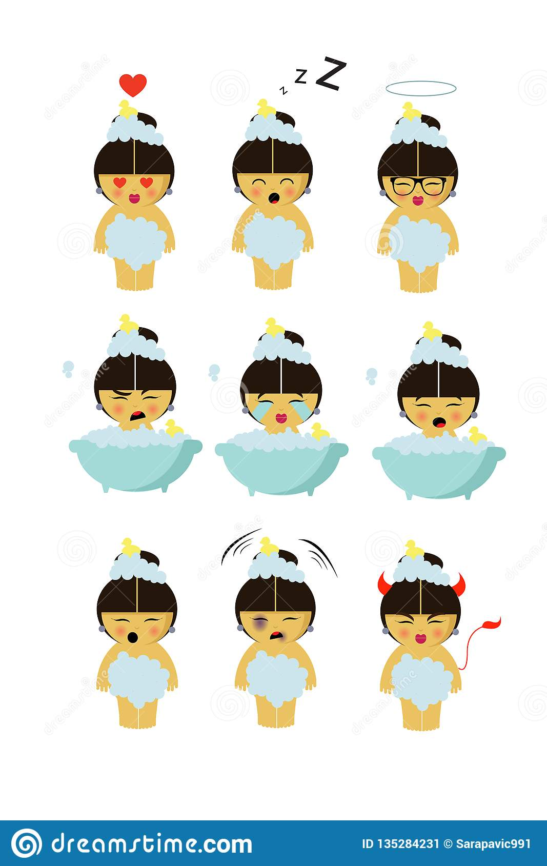 Bathing little girl with nine different emotions
