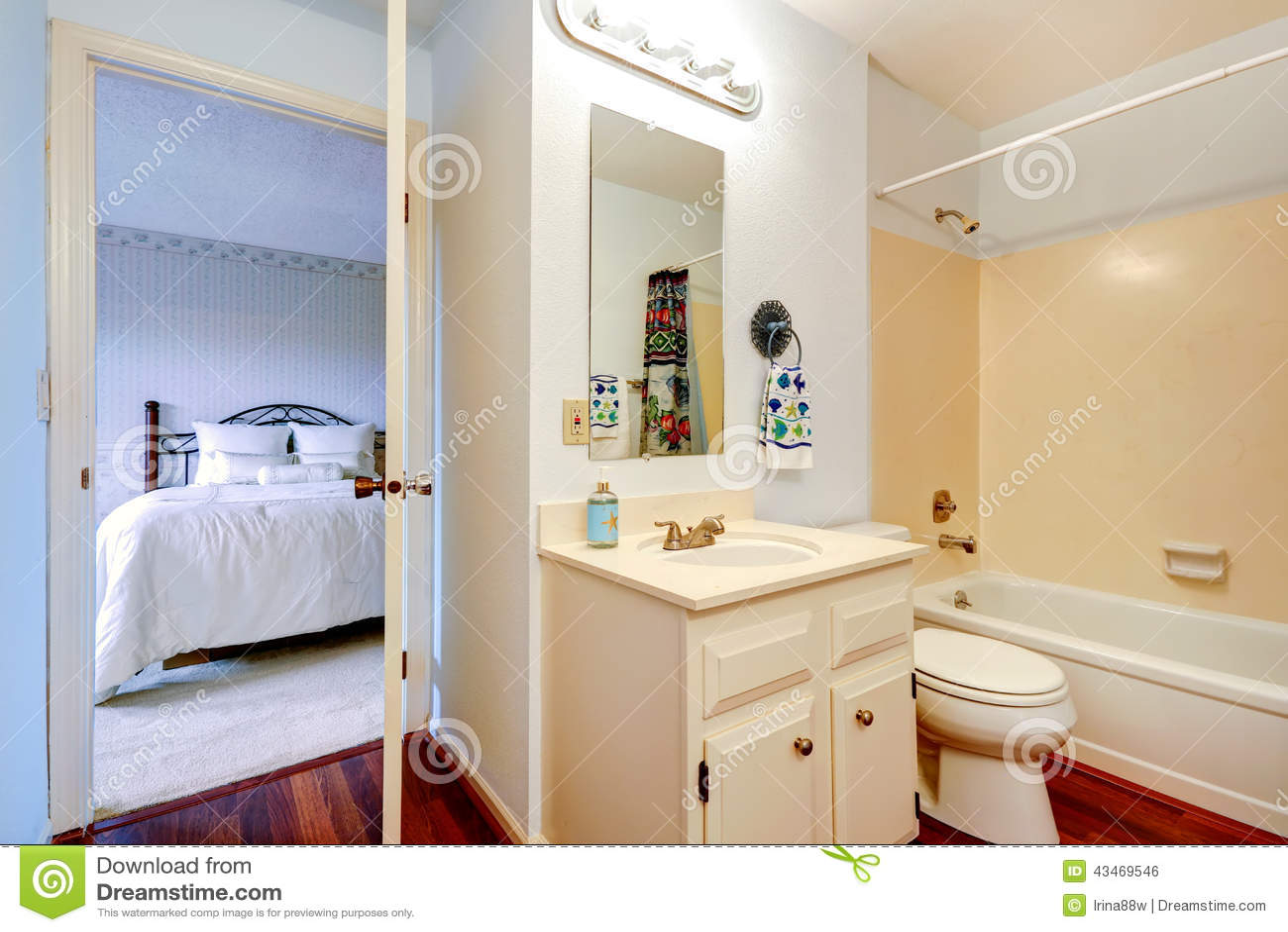 Bathoom interior in masterbedroom stock photo image for Small bathroom interior