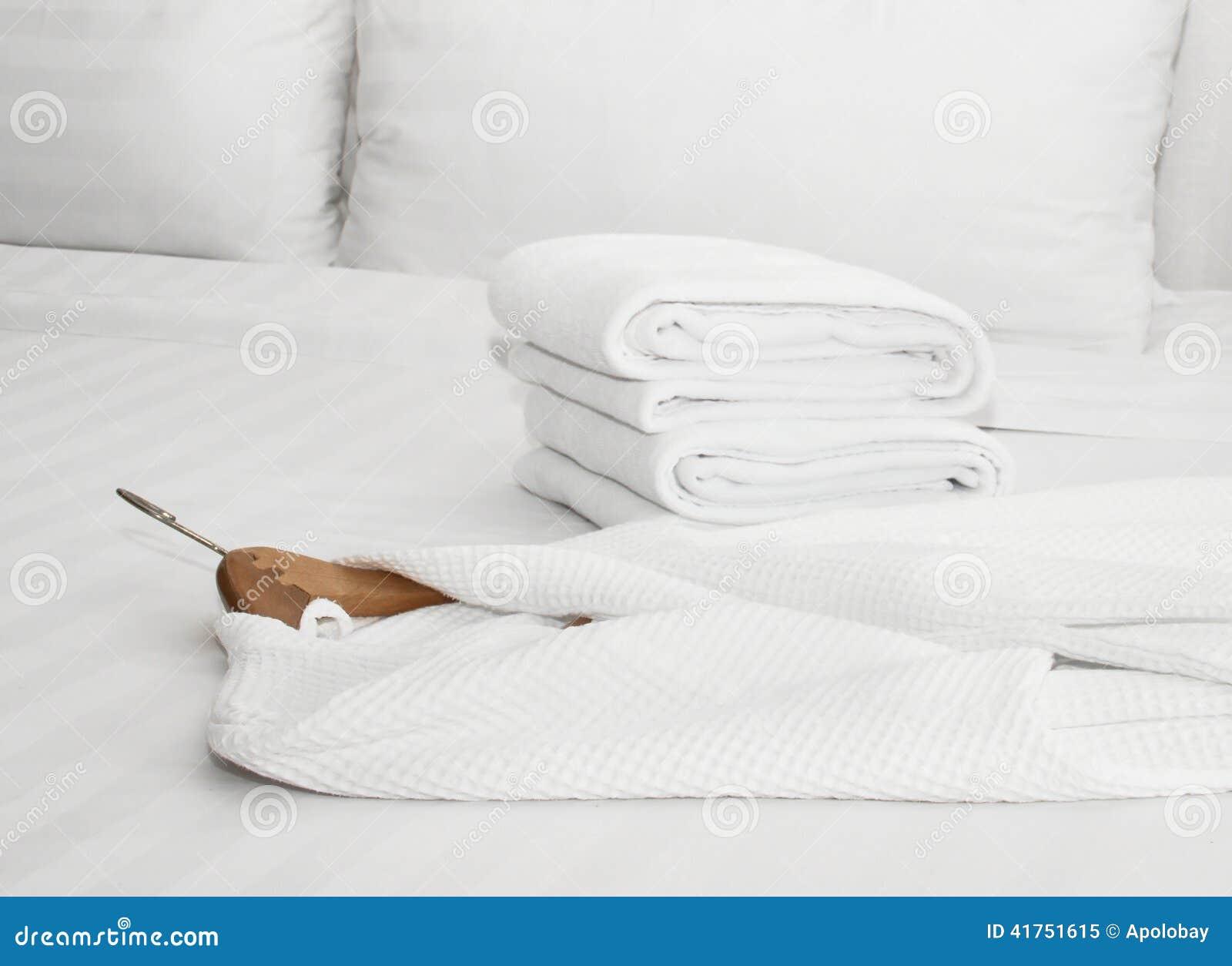 bathrobe on the bed
