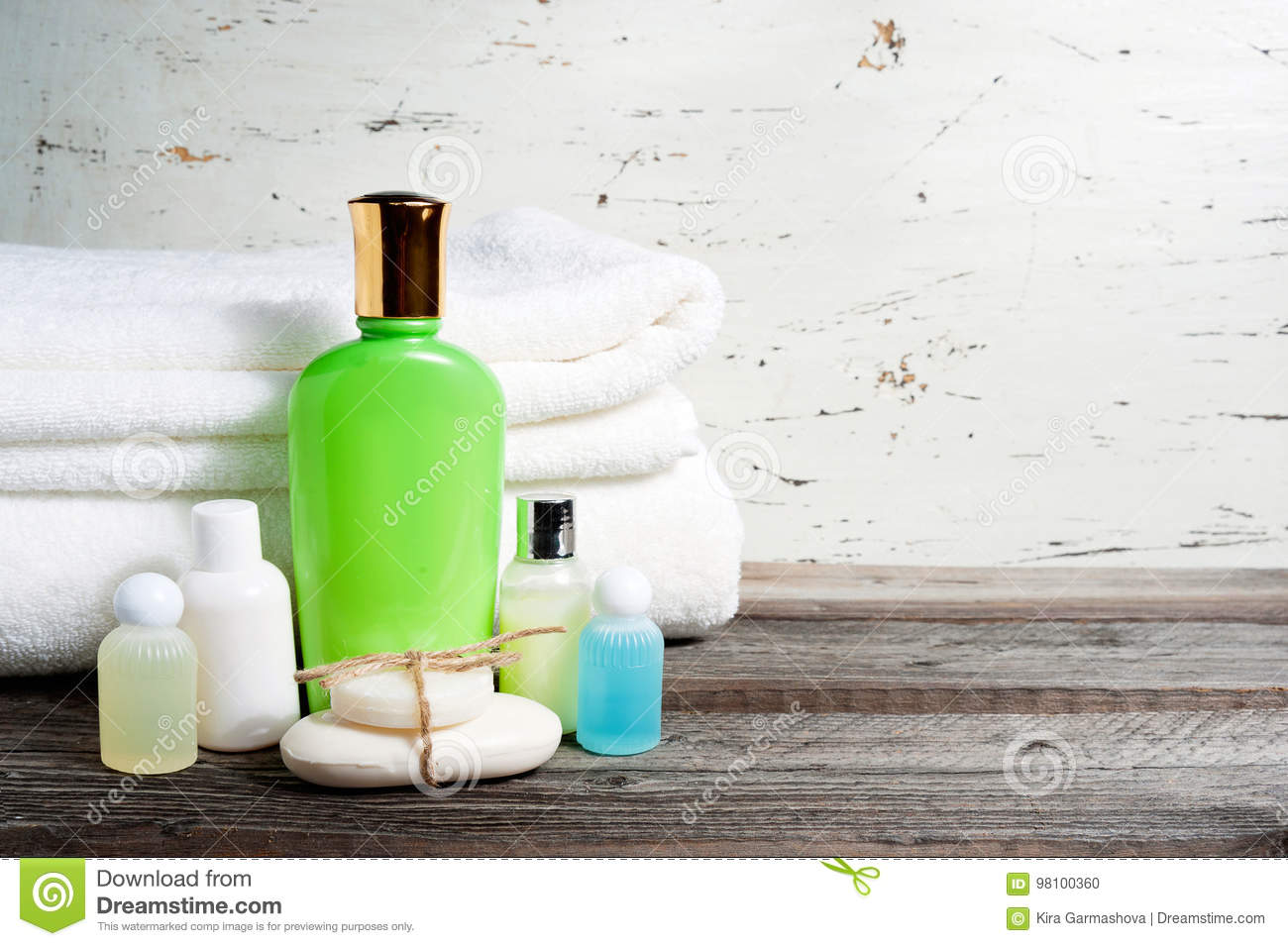 Bathroom Accessories And White Towel. Soap And Lotion. Beauty Care ...