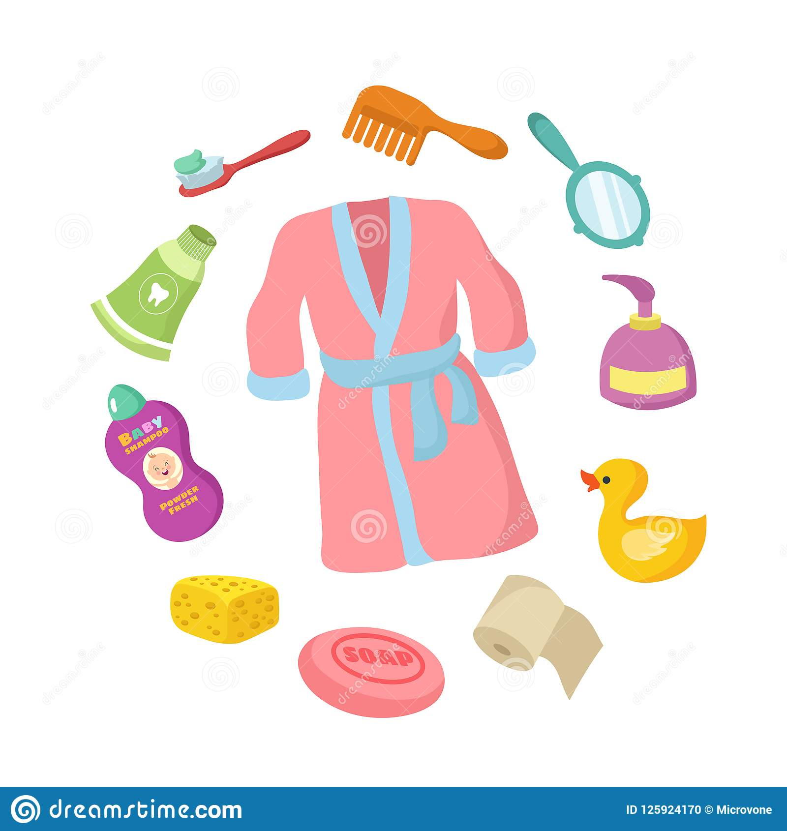 Bathroom accessorises cartoon vector set. Baby hygiene