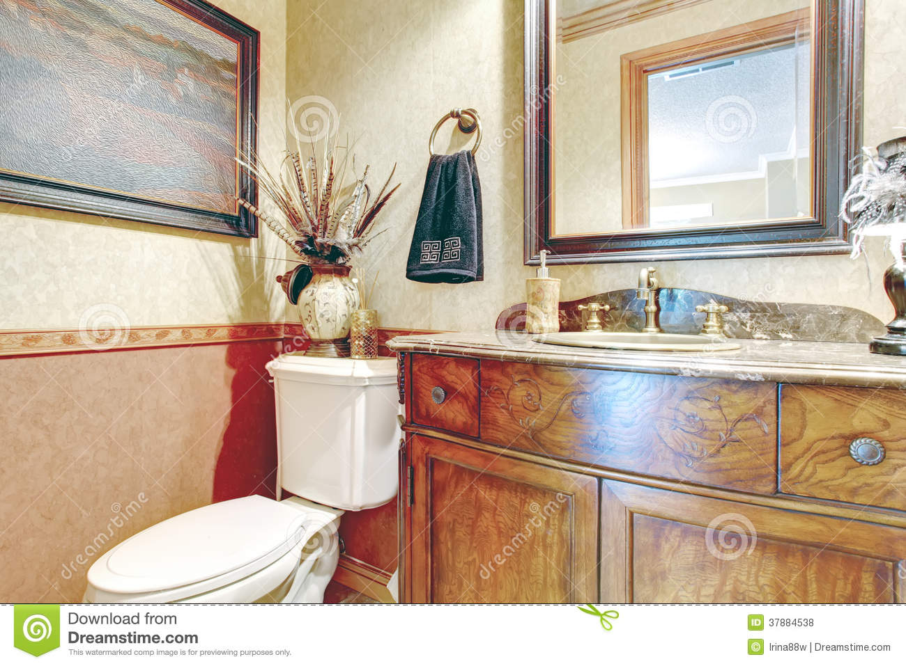 Bathroom With Antique Washbasin Cabinet Stock Photo Image Of