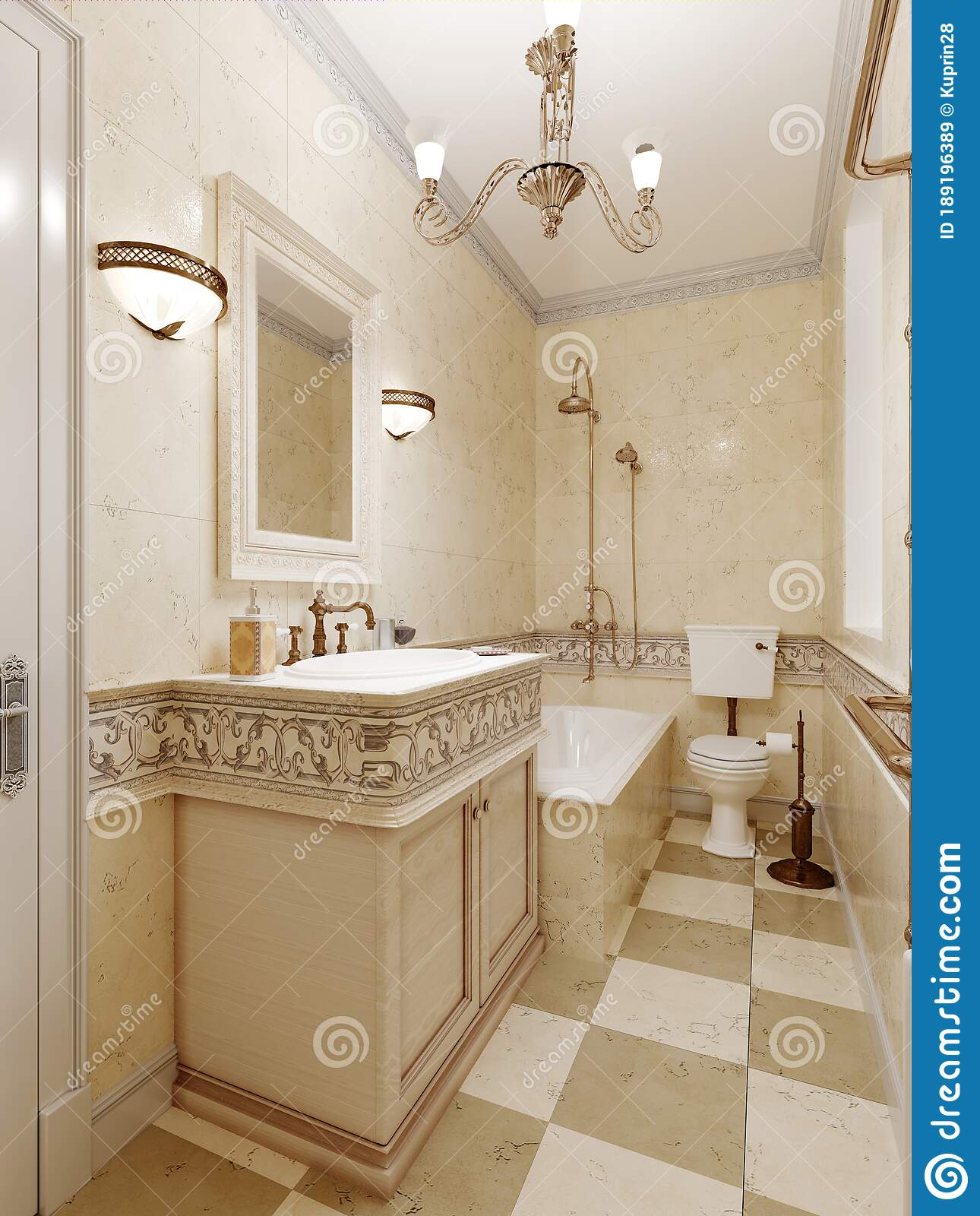 Bathroom In Art Deco Style Beige Tiles On The Walls With Ornament Bath Washbasin And Toilet Stock Illustration Illustration Of Realestate Mirror 189196389
