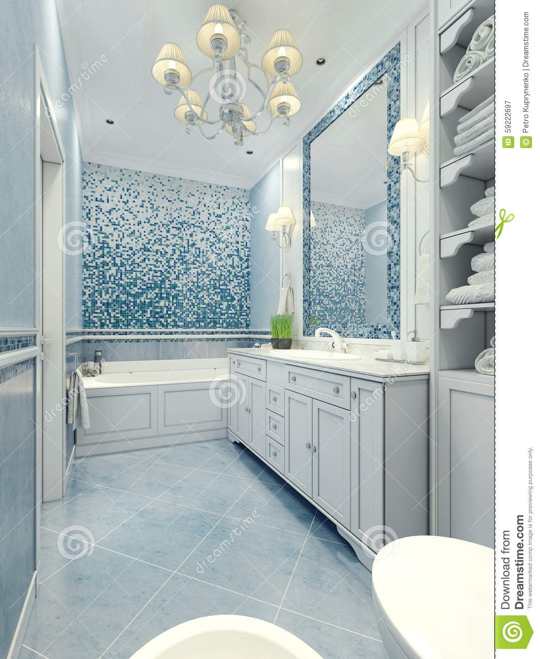Bathroom Art Deco Style Stock Image. Image Of Expensive