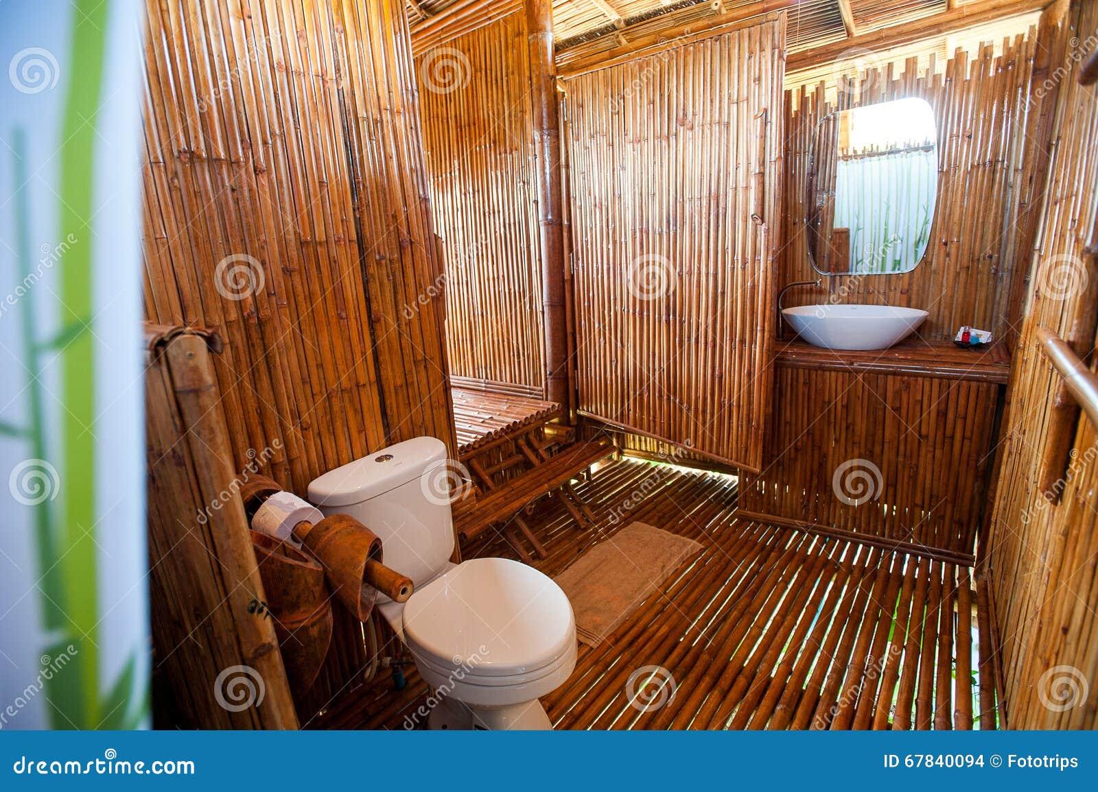 bathroom bamboo with masonry shower cubicle and bathtub stock