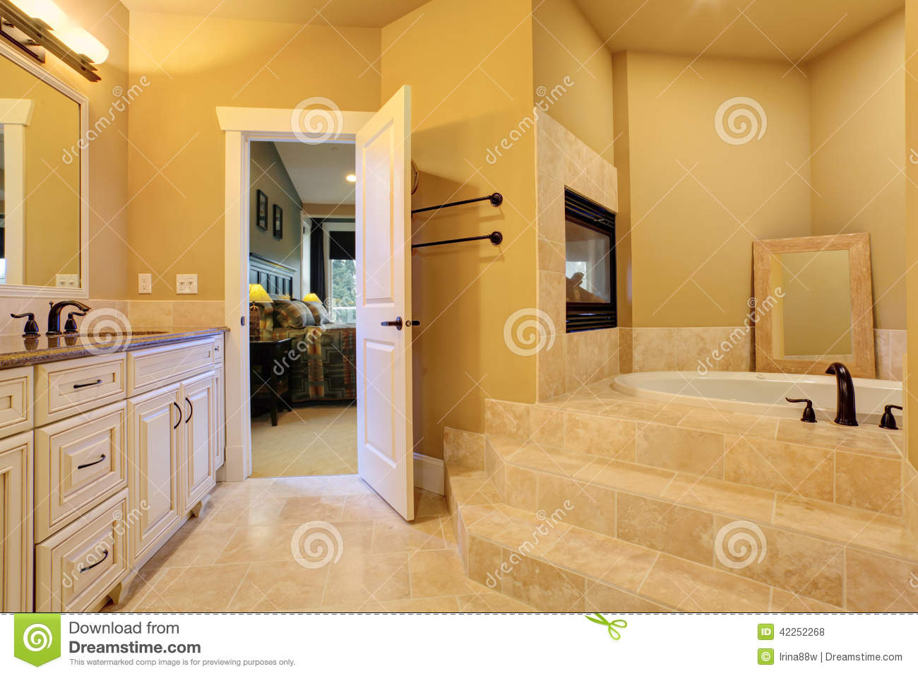 bathroom with bath tub and fireplace stock photo image