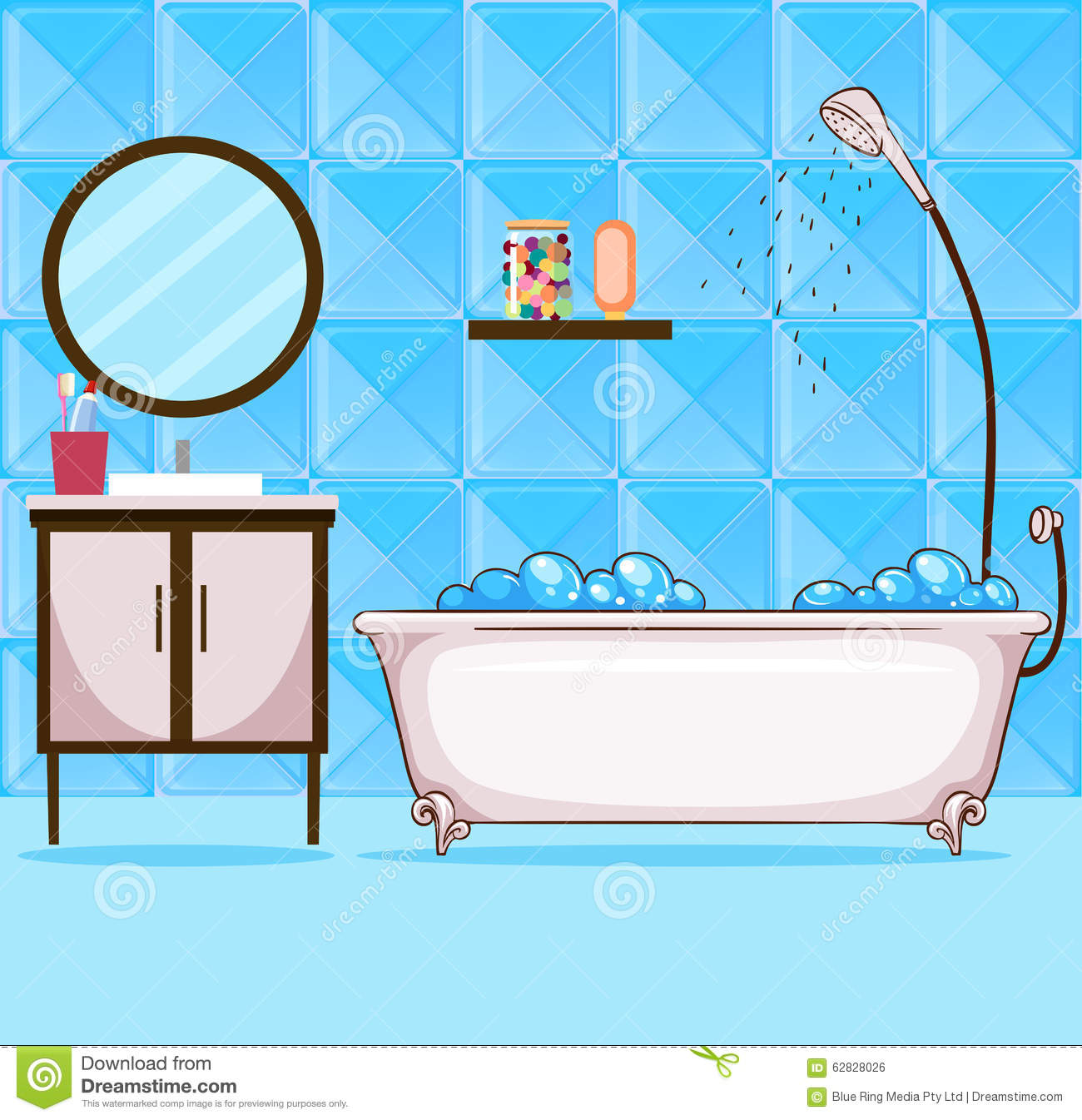 Bathroom With Bathtub And Shower Stock Vector - Illustration of blue ...