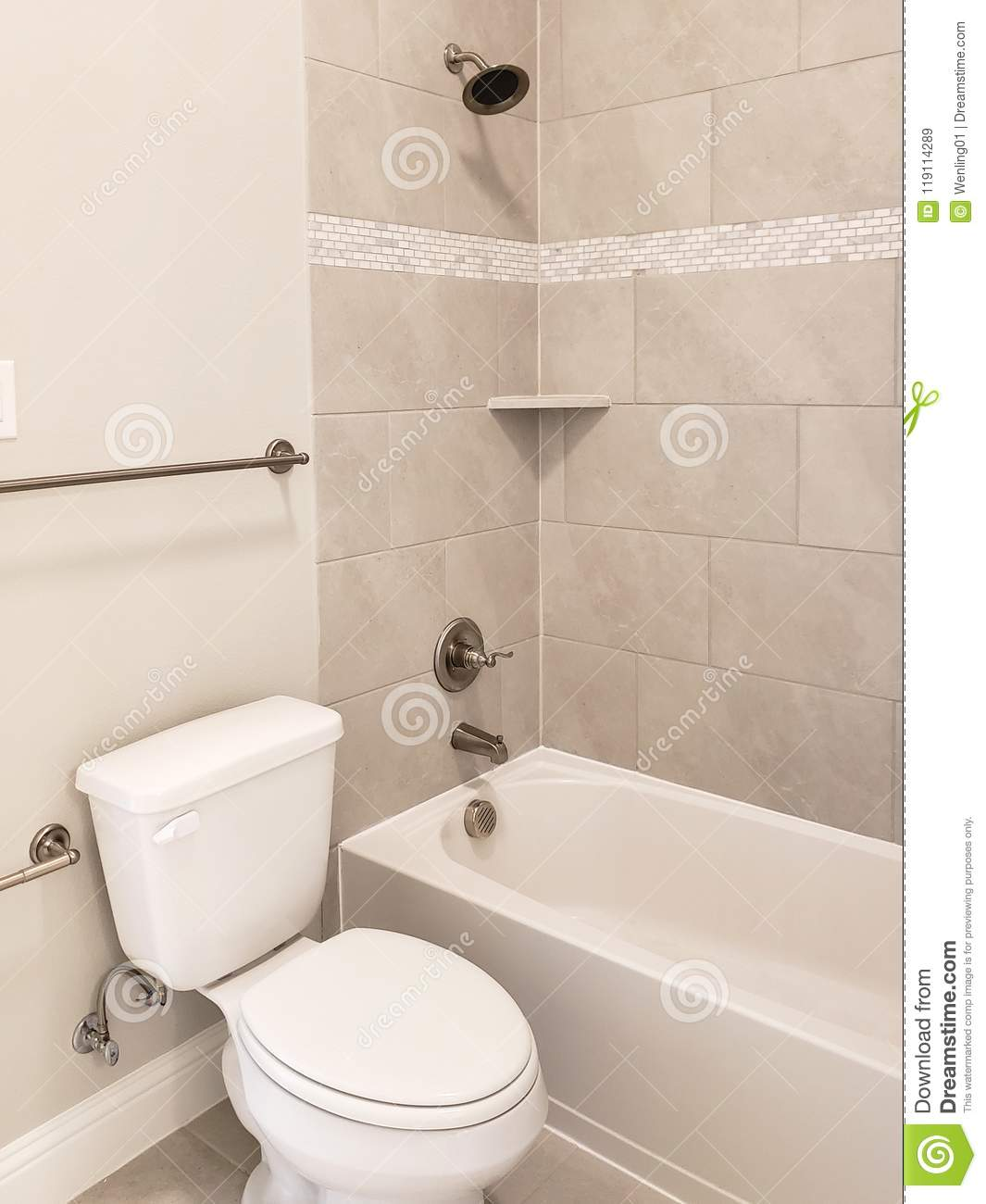 Bathroom Bathtub Toilet Design In A New House Stock Image - Image of ...