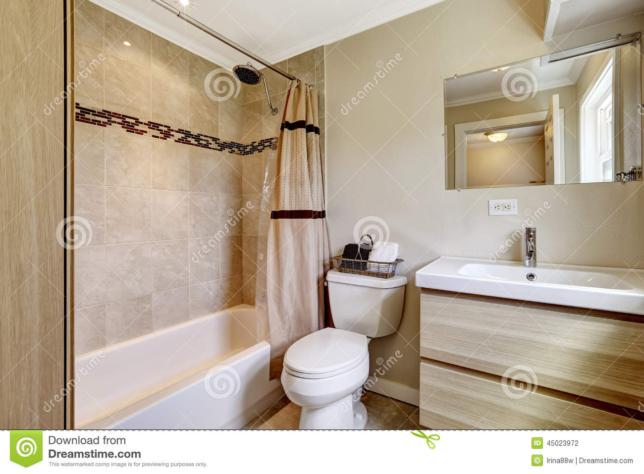Bathroom With Beige Tile Trim Stock Photo - Image: 45023972