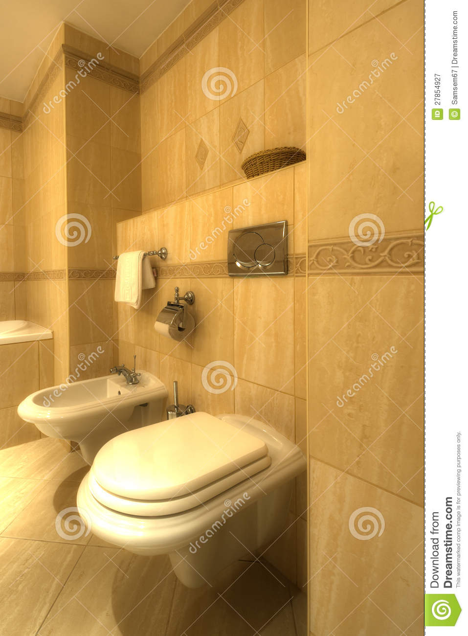 bathroom with bidet and wc royalty free stock photography image 27854927. Black Bedroom Furniture Sets. Home Design Ideas