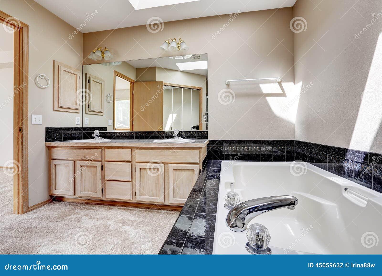 Bathroom With Black Granite Tile Trim Stock Photo Image Of Bathroom Stock 45059632