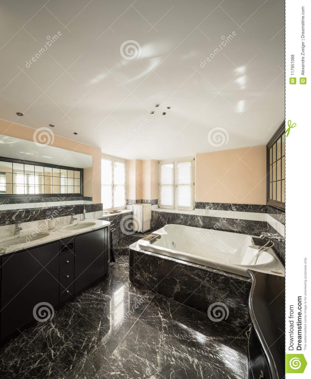 Bathroom With Black Marble Tiles And Empty Big Bathtub Stock Photo Image Of Home Marble 117951088