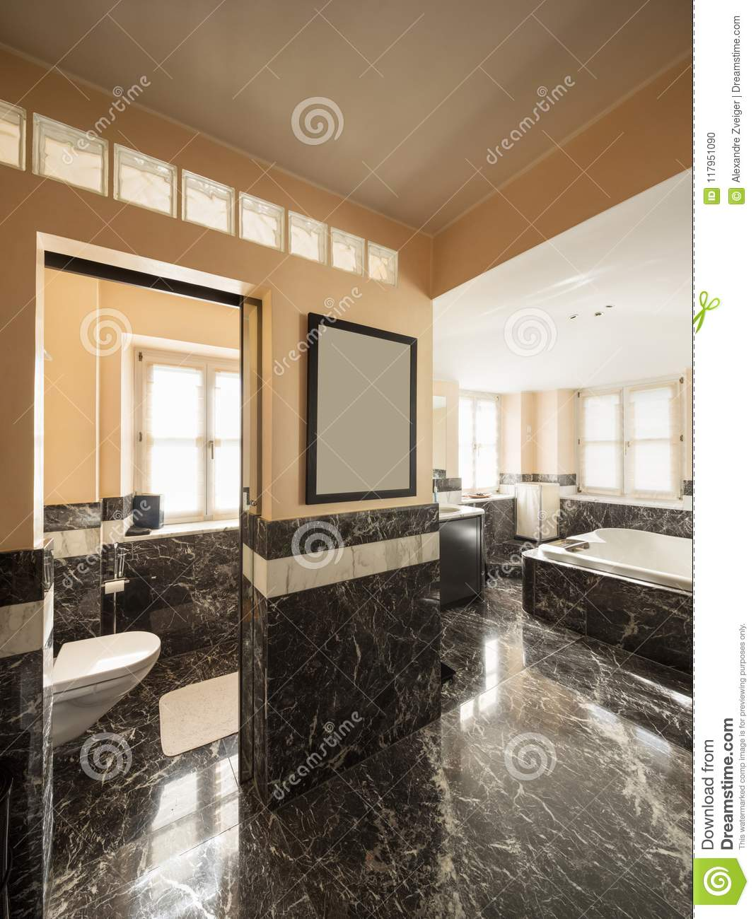 Bathroom With Black Marble Tiles And Empty Big Bathtub Stock Photo Image Of Copy Indoor 117951090