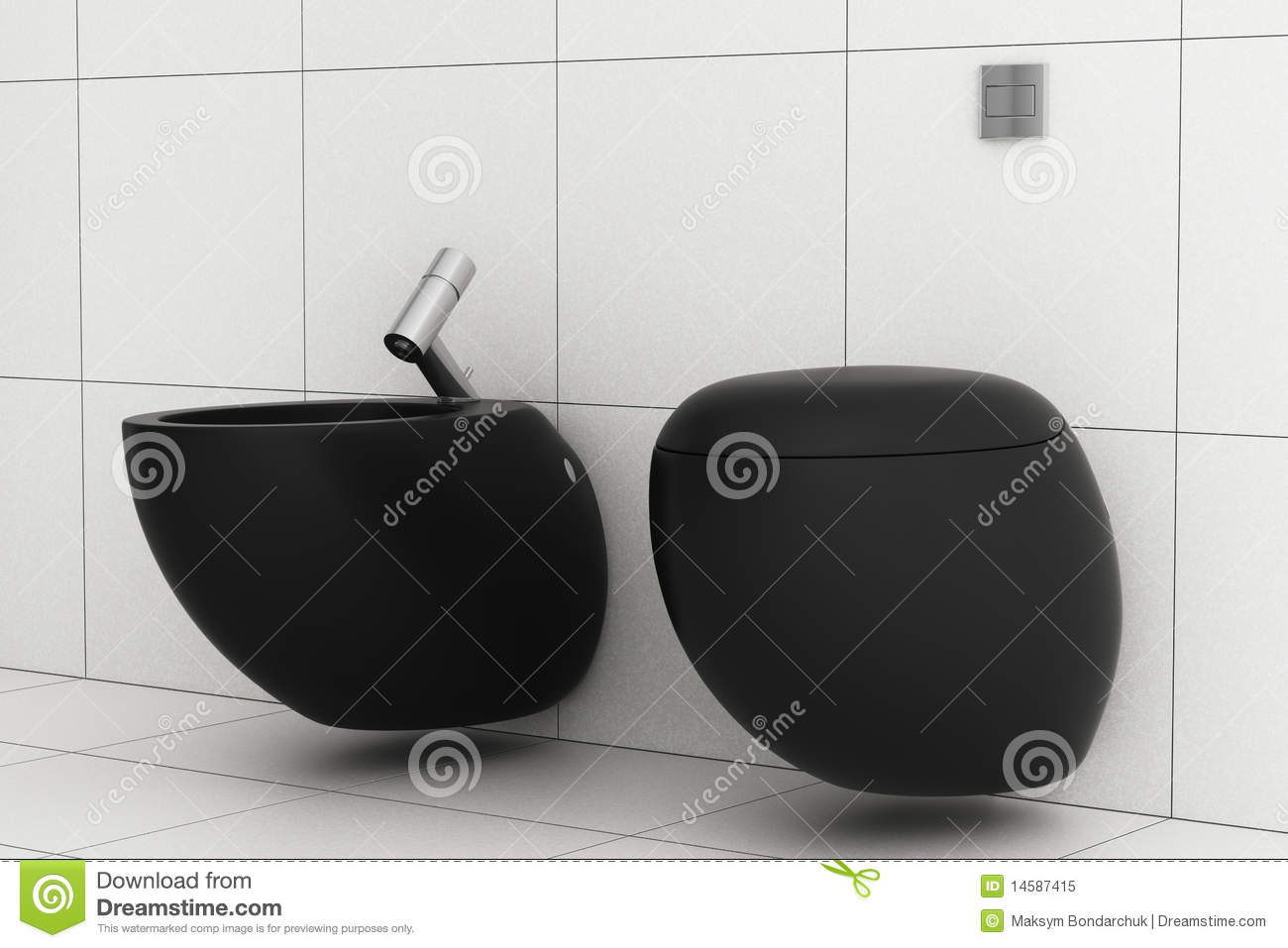 Bathroom With Black Toilet Bowl And Bidet Royalty Free