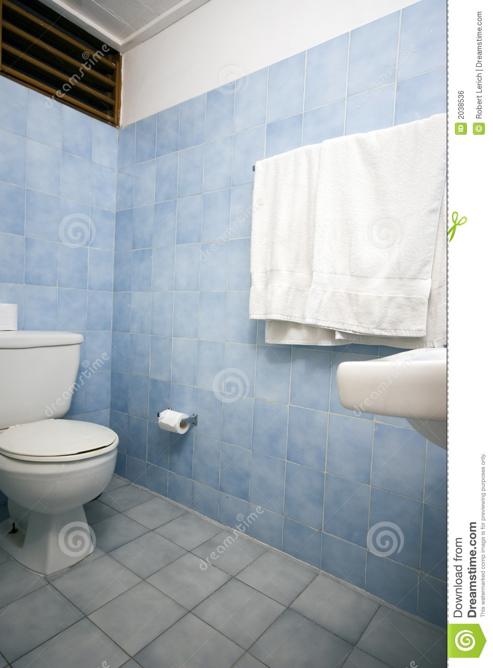 Bathroom with blue tile stock photo. Image of bathroom - 2038536
